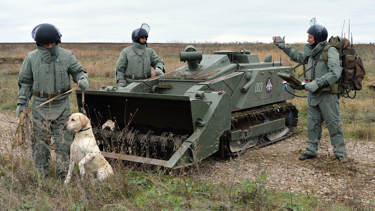 Военные инженеры с собакой и роботом-сапёром Уран-6