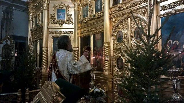 Архиепископ перед алтарём на Рождественской службе