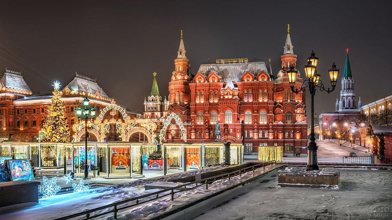 Рождественские огни Манежной площади в Москве