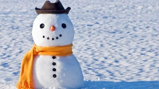 Милый снеговик в шялпе и оранжевом шарфе