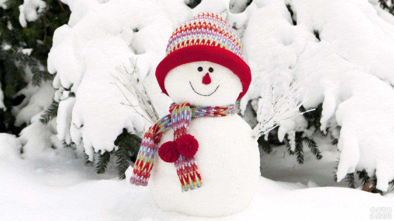 Обаятельный снеговичок в шапке и шарфике под заснеженными елями