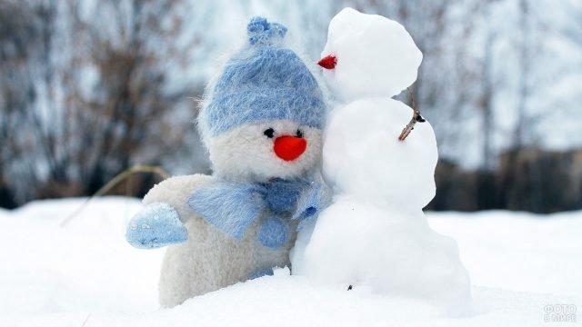 Плюшевый и настоящий снеговички в зимнем поле