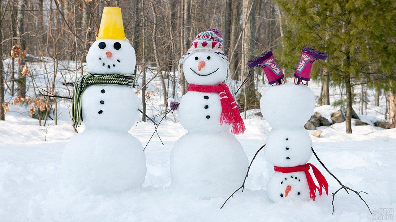 Весёлая семейка снеговиков у зимнего леса