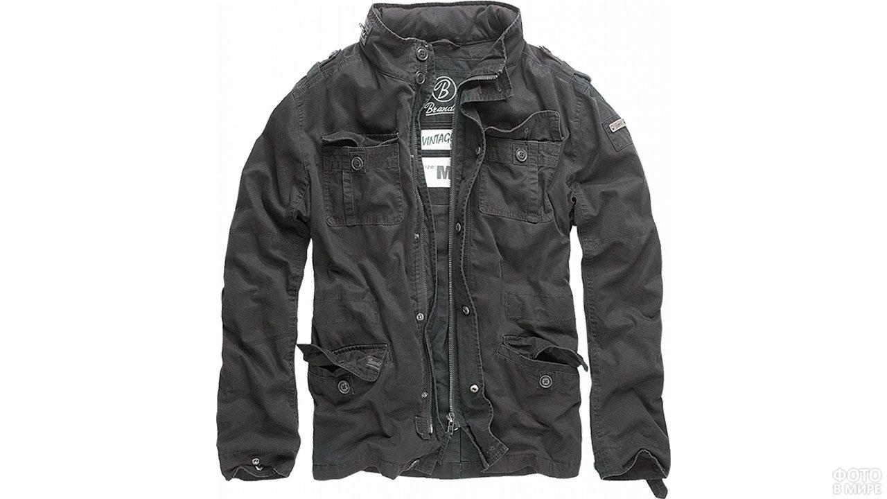 Графитно-чёрная мужская куртка в стиле милитари