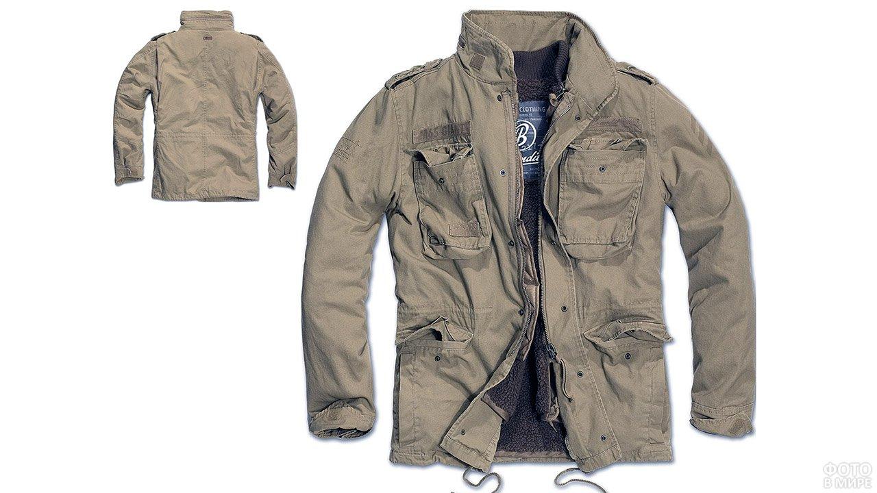 Мужская куртка цвета хаки в стиле милитари