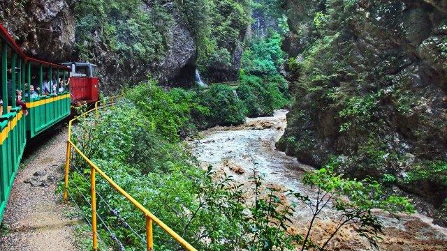 Туристический паровозик проезжает над рекой в Гуамском ущелье