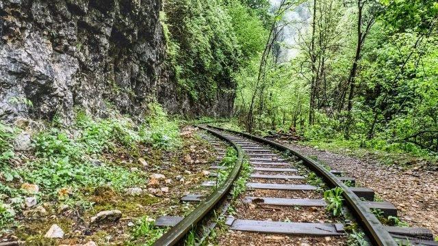 Железнодорожное полотно узкоколейки в Гуамском ущелье