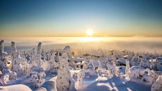 Утреннее солнце над заснеженной Лапландией