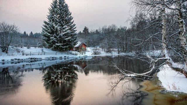 Зимнее утро на сельской речке
