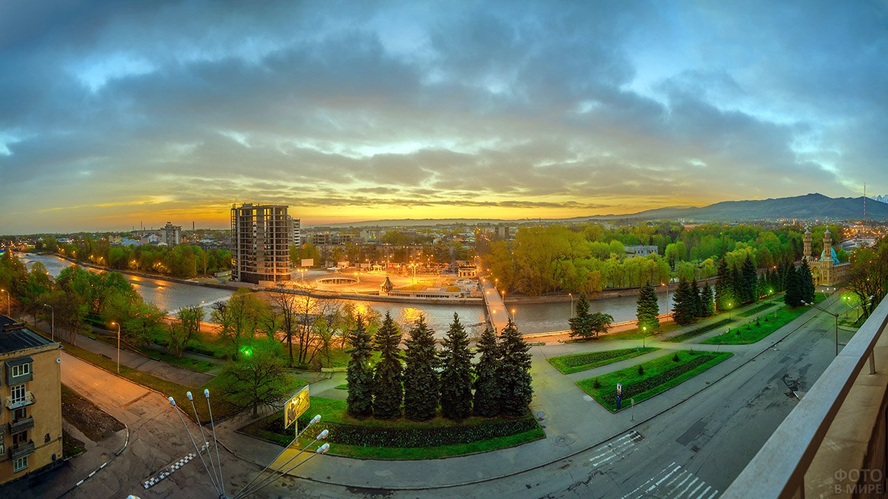 Панорама вечернего Владикавказа