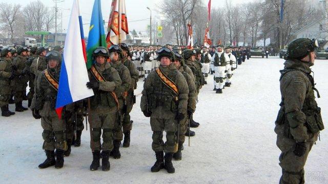 Военный парад в честь 23 февраля в Пскове