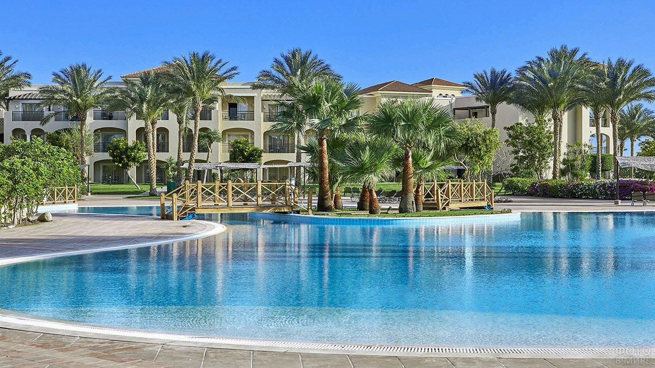 Пальмы у бассейна при отеле в Шарм-Эль-Шейхе