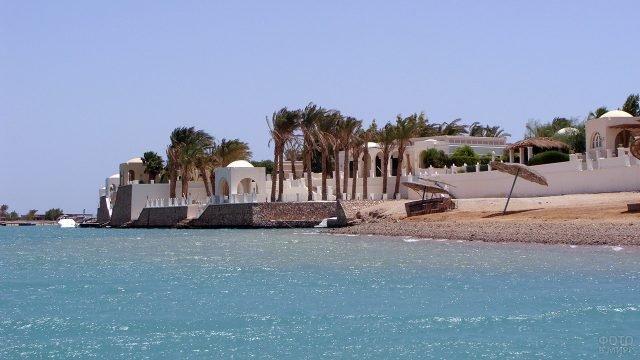 Ветер треплет кроны пальм у отеля на пляже Хургады