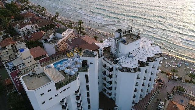 Вид сверху на трёхзвёздочные отели у пляжа в Кушадасы