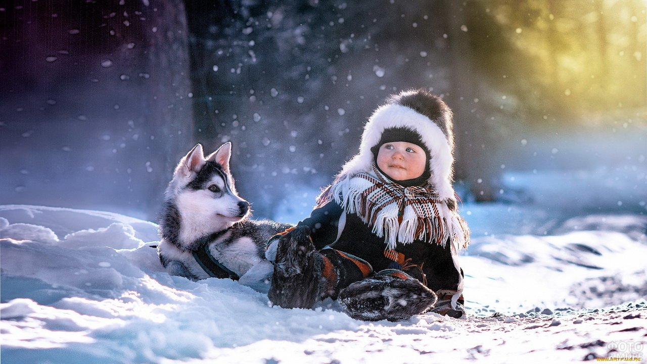 Ребёнок со щенком играет в снегу