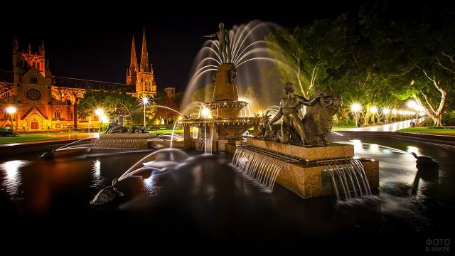 Вечерняя подсветка фонтана в Сиднее