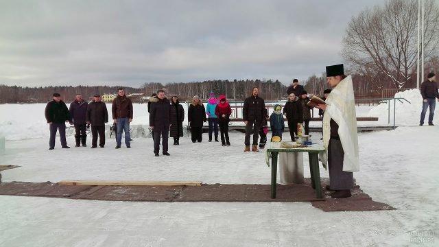 Обряд освящения крещенской купели в Подмосковье