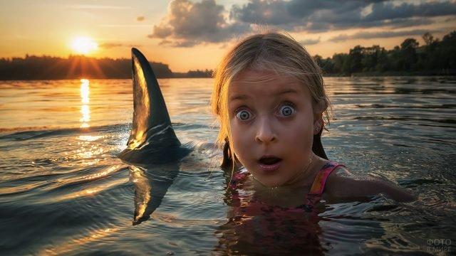 Девочка купается в море с акулой