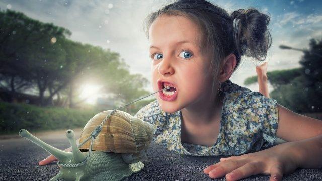 Улитка вырывает детский зубик