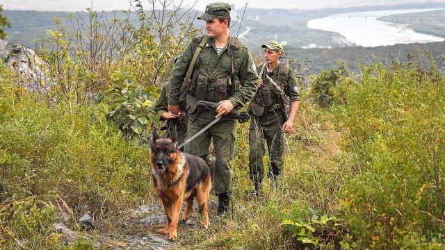 Пограничники с собакой на обходе