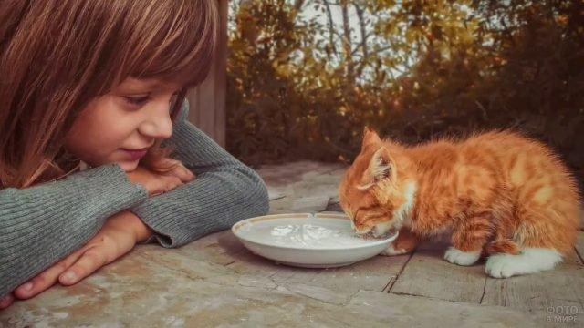 Девочка кормит котёнка с блюдца