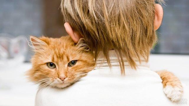 Маленький мальчик стоит спиной с рыжим котом на плече
