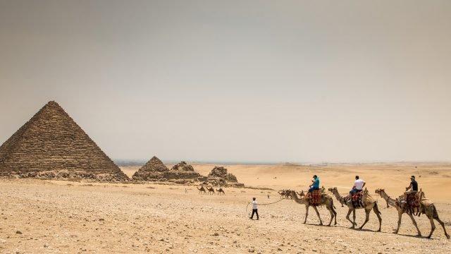 Караван из верблюдов идущий в сторону пирамиды