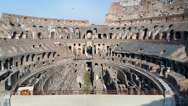 Панорама внутренних руин римского Колизея
