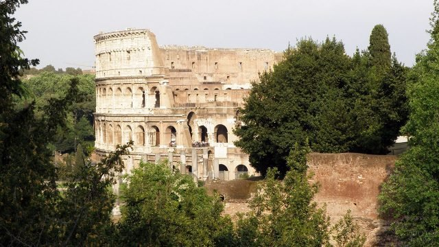 Стены римского Колизея среди летней зелени