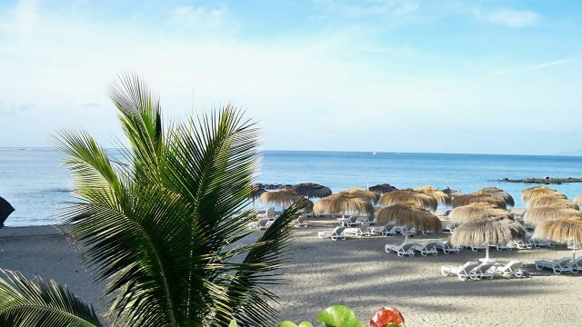 Шезлонги под тропическими зонтиками на пляже острова Ла-Гомера