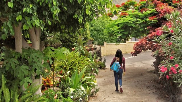 Туристка на цветущей улице курорта на острове Эль-Иерро