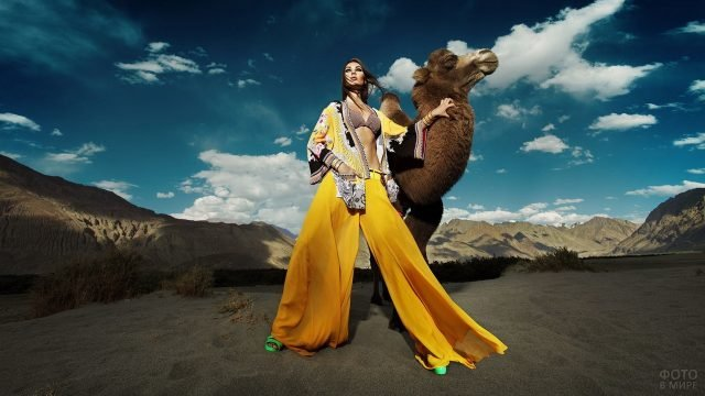 Девушка в жёлтом с верблюдом на фоне гор