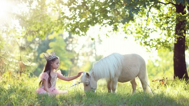 Девочка-принцесса и пони в образе единорога
