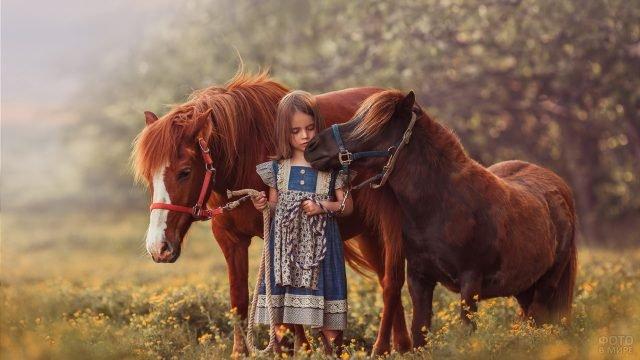 Девочка в платье под старину и два пони