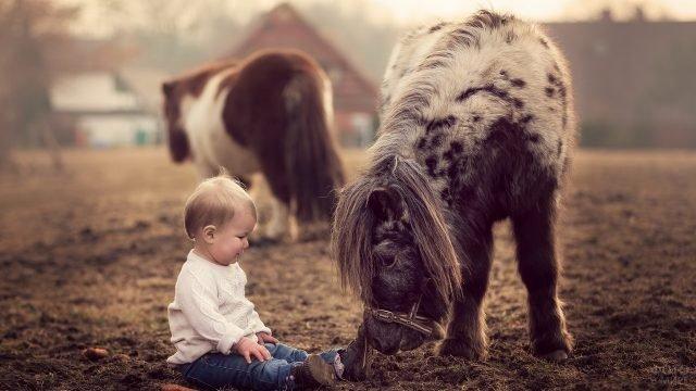 Малыш сидит на земле рядом с пони