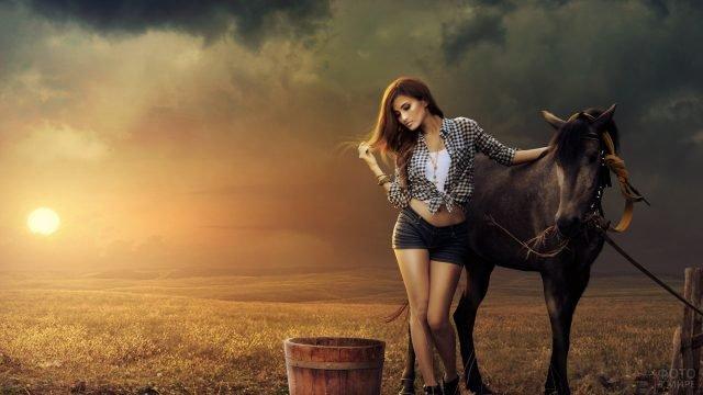 Девушка с вороной лошадью в поле на закате