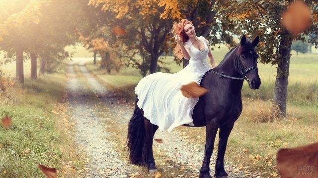 Девушка в платье невесты верхом на вороном жеребце