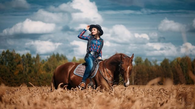 Девушка в шляпе верхом на лошади