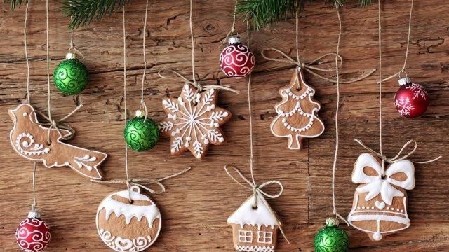 Фигурные имбирные пряники для украшения новогодней ёлки