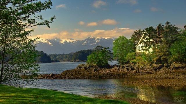 Домик на берегу реки с живописным пейзажем
