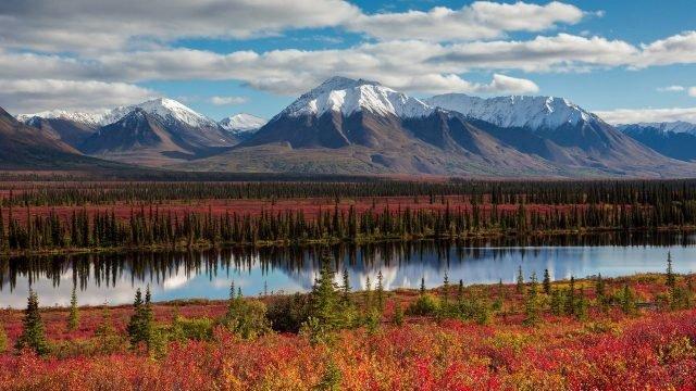 Осенняя природа Аляски с озером и горами