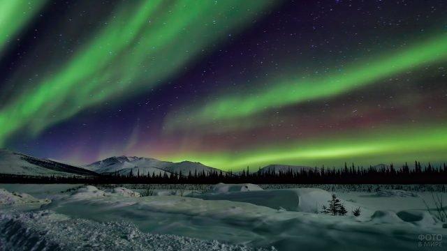Северное сияние в небе над Аляской