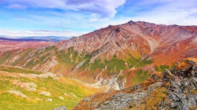 Жёлто-зелёные склоны гор