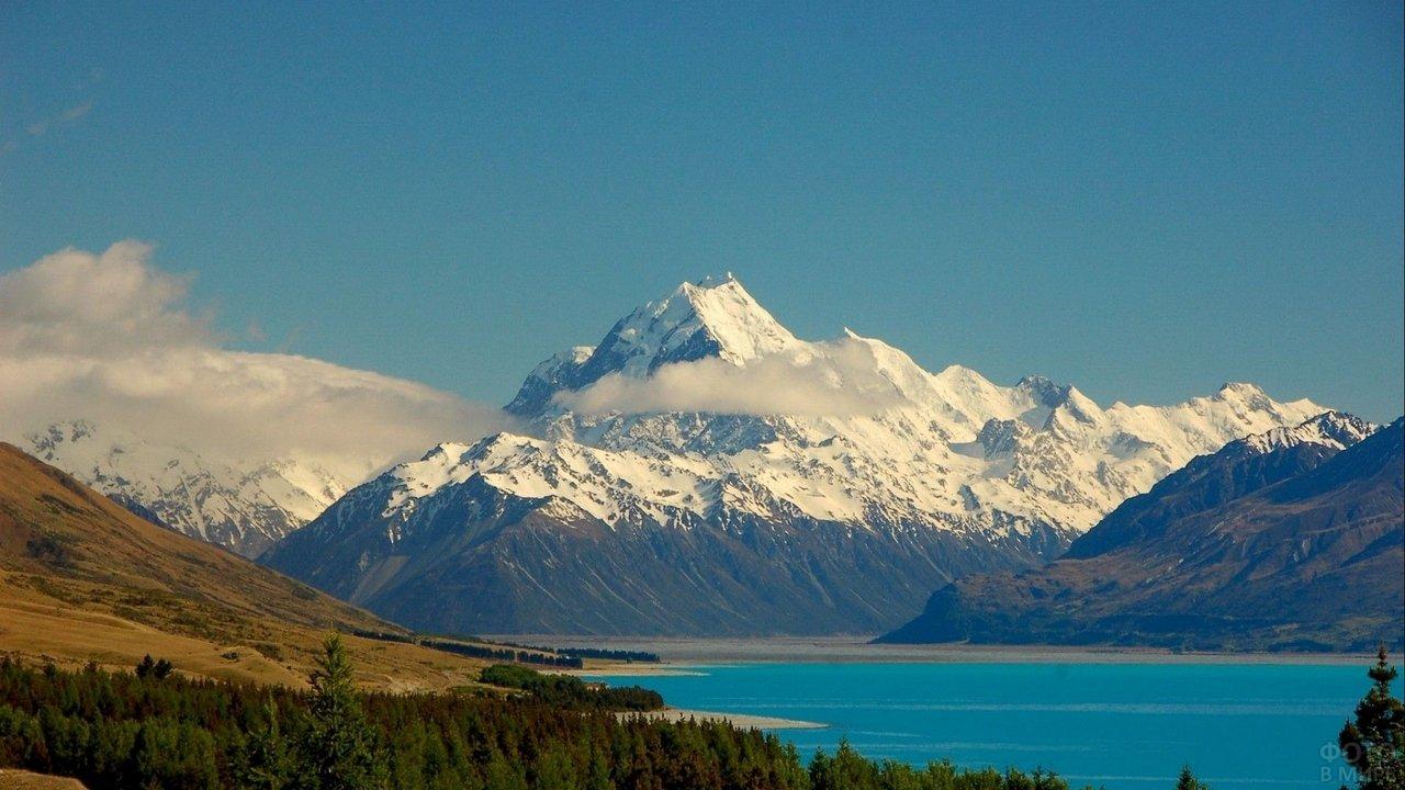 Озеро у подножья снежных гор