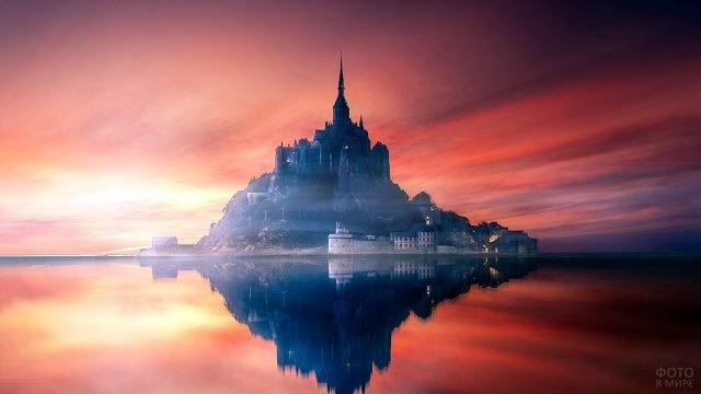 Малиновый закат над Сен-Мишель