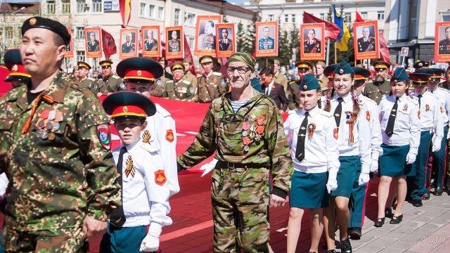 Ветераны, кадеты и казаки в рядах Бессмертного полка в Бурятии 22 июня