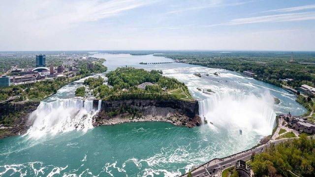 Панорамный вид на Ниагару и её водопады
