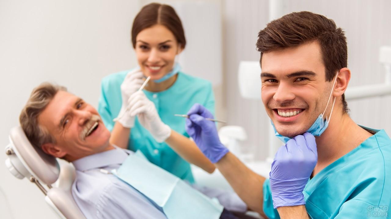 Радостная обстановка в кабинете стоматолога