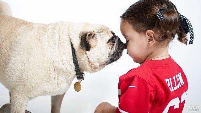 Милые девочка и собачка