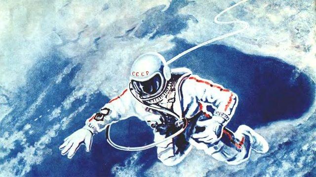 Рисунок космонавта СССР в открытом космосе